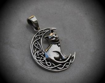 Genuine Solid Sterling Silver Celtic Cat Pendant