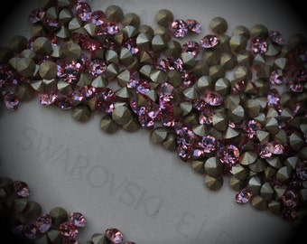Xilion 1028 20pp Genuine Swarovski Crystals Light Rose Rounds Foiled Rhinestones 144pcs 1 Gross