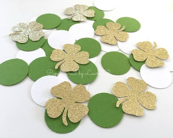 Lucky Shamrock's Confetti.  Table Party Decorations. Green and Gold Glitter Lucky Shamrock.  St. Patrick's Day Party. 50CT
