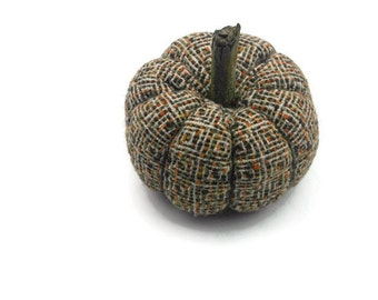 Wool Tweed Fabric Pumpkin Home Halloween Decor, Fall Country Home Accent Fall and Halloween Decor