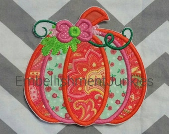 Whimsical pumpkin - large iron embroidered fabric applique patch embellishment- ready to ship