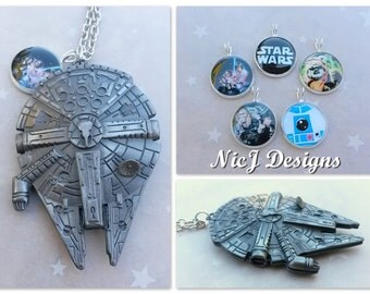 Star Wars 3D Millennium Falcon Pendant and Handmade Resin Charm