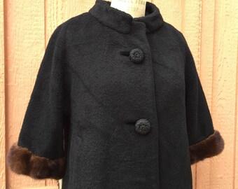 1950's Black Wool Coat