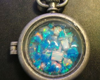 Large Lab Created white and Blue Opal Pendant Worry Watch Locket