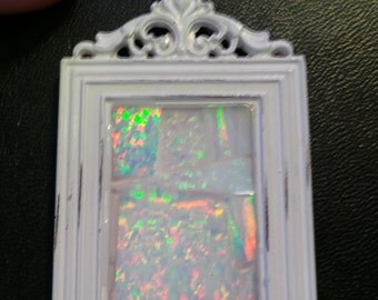 Lab Created White Opal Mosaic Picture Frame Pendant