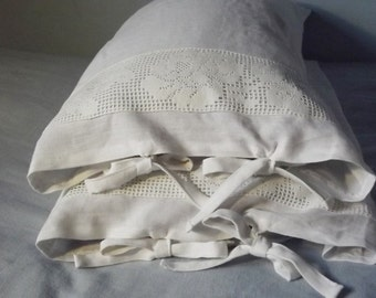 New price!  Handmade White Linen Pillow Case with White Crochet Lace and Ties. Queen Size Pillow Case.