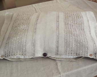 Decorative Linen Pillow Cover with Hemstitch. Natural Vintage Linen.