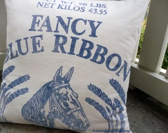 Horse Pillow Cover, Equestrian Pillow, Feedsack Pillow, Rustic Grain Sack Pillow, Grainsack Pillow -  Featured in This Old House Magazine
