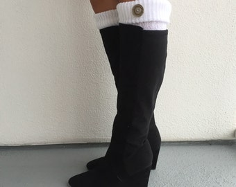 Leg Warmers - Cream w/ Grey Taupe Large Buttons / Cream Knit Boot Socks