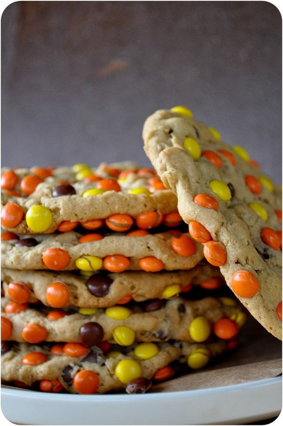 Monster Size Reese Peanut Butter and Chocolate Chip Cookies
