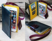 iPhone6 plus/ Colourful/ Teal -yellow-purple iPhone wallet/ with case and mini zip/ Magnetic/ wrtstlet strap
