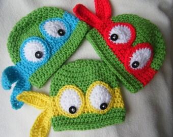 Teenage Mutant Ninja Turtle Baby Beanies/Hats - MADE TO ORDER - Handmade by Me