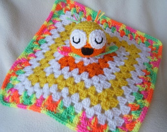 Crocheted Owl Lovey in Yellow and Orange Snuggle/Security Blankie