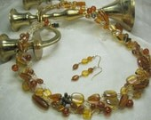 Amber and Gold Beaded Crochet Necklace Set, crocheted wire necklace, handmade bead jewelry