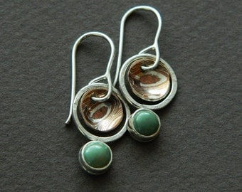 "Mixed metal earrings ""planets"" with turquoise"