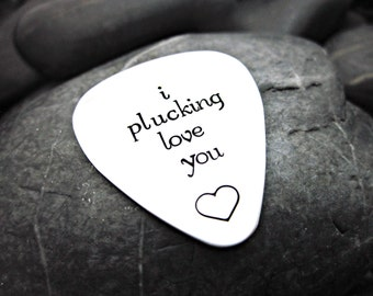 I Plucking Love You - Guitar Pick Keychain - Gift for Him
