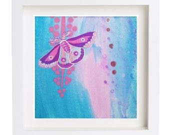 Small original acrylic painting 'Mini moth' by Suzielou, wall canvas, butterfly picture, gift for a friend