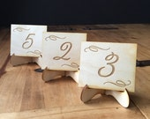 6 Table Numbers Rustic Wedding Table Decor, Mini Table Numbers, Wooden Engraved Table Number, Restaurant Table Numbers
