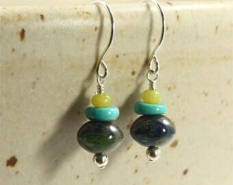Czech Glass, Turquoise, and Jade Earrings, Drop Earrings, Dangle Earrings, Czech Glass Earrings, Turquoise Earrings