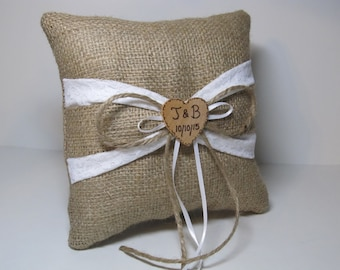 Personalized Rustic Ring Bearer Pillow With White Lace and Burlap Sash