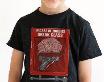 Youth In Case Of Zombies Break Glass T-Shirt horror shirt, zombe apocalypse,tshirts S-2XL