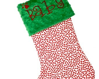 Dog Christmas Stocking, Dog bone Red Christmas Stocking, Personalzied Pet Christmas Stocking, Dog Bone Christmas Pet Stocking