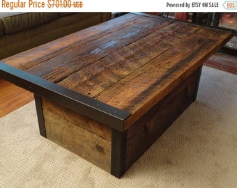 "Last Chance Sale 15% OFF. Custom 20""x 48""X 18"" (3"" overhang) Custom Industrial Coffee Table with Usable Trunk / Chest Base"