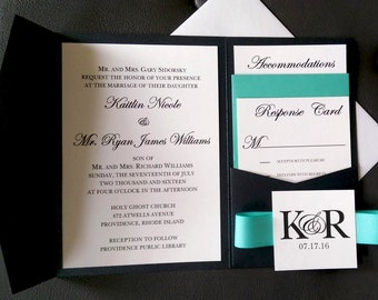Simply Classic Black, White, Tiff Blue Pocket Wedding Invitation Suite with Ribbon