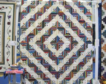 Nine Patch Log Cabin queen quilt