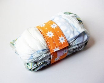Clearance Star Diaper Strap - Orange with White Stars and Blue Dot