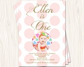 1st 2nd 3rd Pink Blush Mint Blue Green Yellow Polka Dot Birthday Party Invitation Card   - Any Color