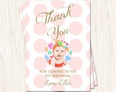 1st 2nd 3rd Pink Blush Mint Blue Green Yellow Polka Dot Birthday Thank You Card Note -  Any Color