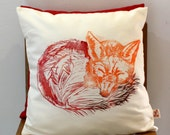 Sleeping Fox hand block printed decorative scatter cushion cover