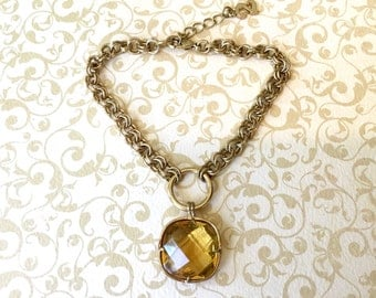 Very Pretty Bracelet with Faceted Topaz Colored Charm