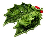 Vintage 70s 80s Hand-Painted Green & Red Ceramic Christmas Holly Candy Dish