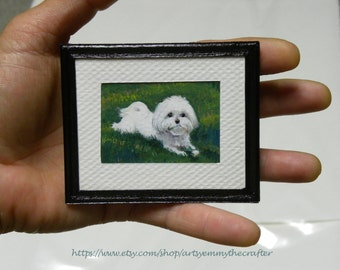 Custom Pet Portrait-Personalized Pet Portraits-Miniature Painting-Pet Memorial-Cats-Dogs-Terrier-Horses-Llamas-Goats-Animals-Made to Order
