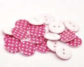 "20 Swiss Polka Dot Buttons - Dark Pink background with white dots, size 18mm, 11/16"", 28L, 2 hole novelty buttons"