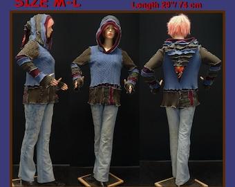 Elf sweater, size M, size L, pullover, hoodie, hippie, patchwork, fairy