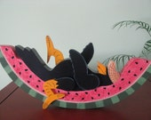 Crow on Watermelon, Summertime, decoration, handpainted, shelf sitter