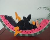 Crow on Watermelon, Summertime, decoration, handpainted, shelf sitter
