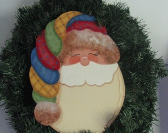 Santa wreath, Santa, Wall hanging, Door hanging, Christmas, handpainted