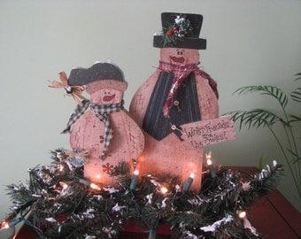 Snowmen Lighted Centerpiece, Christmas, winter decor, home decor,  handpainted, pine, winter. snowmen, centerpiece