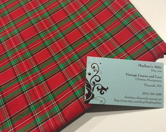 Taffeta, Vintage Red and Green Plaid Taffeta fabric for crafts, sewing, doll, bridal, baby, couture, costume by MarlenesAttic
