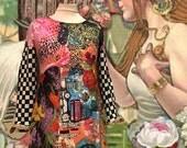 Beautiful Hippie , folk colored dress
