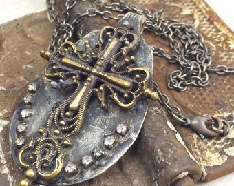Rhinestone Cross Spoon Necklace with Filagree Design, Mixed Metal Cross Pendant on Oxidized Chain,One of a Kind Necklace by Kyleemae Designs