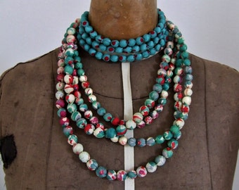 7 strands silk necklace