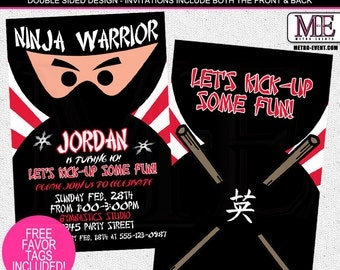 Ninja Invitations, Invitations, Boys Birthday Invitations, Karate Invitations, Ninja Birthday, Ninja Warrior