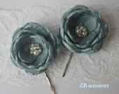 Sage antique green flowers with pearls and crystals, Bridal sash brooch, Bridesmaids hair clips, Shoe clips, Handmade Wedding Accessories