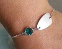 Birthstone Bracelet. Freeform Disc. Sterling Silver Disc Bracelet. Personalized Bracelet. Gift Under 35