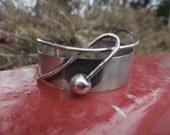 ORB Otto Robert Bade Sterling Silver Cuff Bracelet Modernist Asymmetrical Cherry Design
